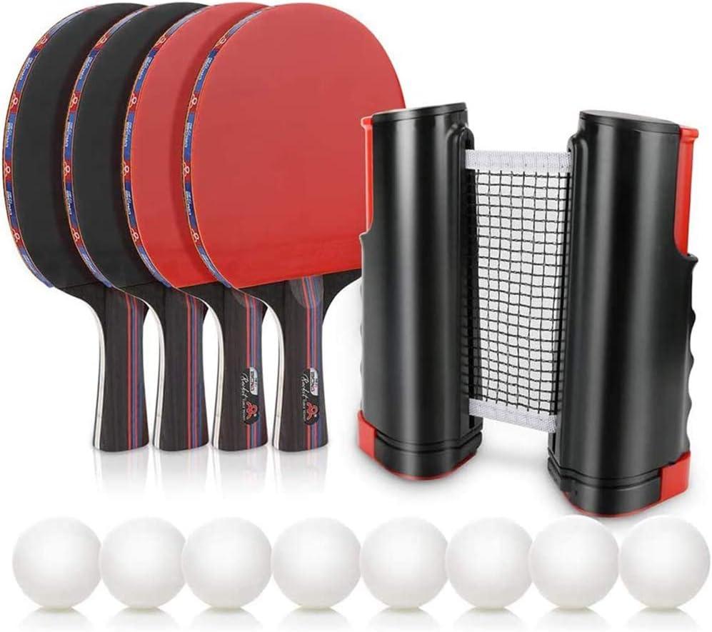 WLKQ Juego De Tenis De Mesa, Juego De Ping-Pong Portátil con Bolas De Raqueta De Red Elásticas Juego De Paleta De Ping-Pong con Red para Uso Doméstico En Viajes