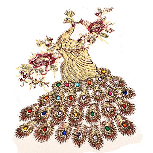 BIG DOT OF JOYCE Sequins Applique Embroidered Peacock Multiple Rhinestone DIY Sewing Trim Decorations-Perfect Decoration for Your Jeans,Jacket, Shirt, Wedding