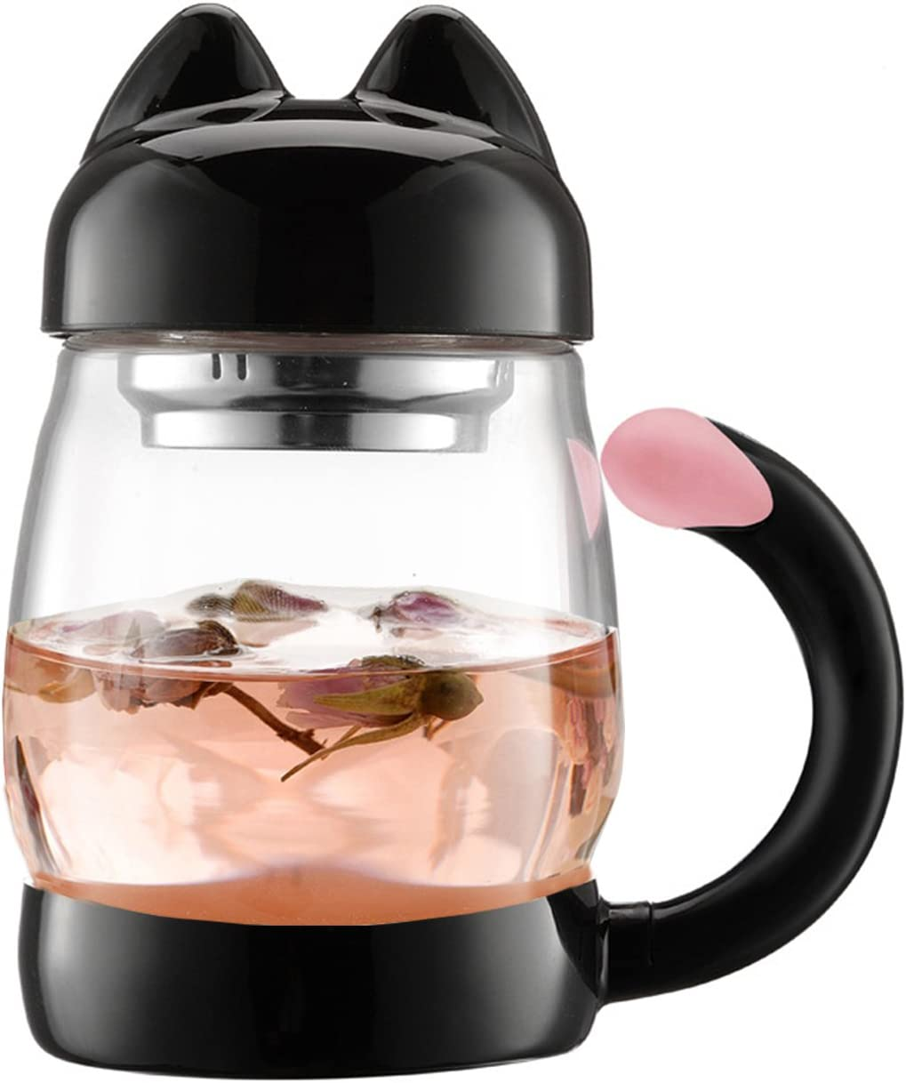BZY1 420 ml / 14 oz Portable Cute Cat Tail Glass Tea cup with a lid, Heat Resistant Mugs with a Strainer (Black)