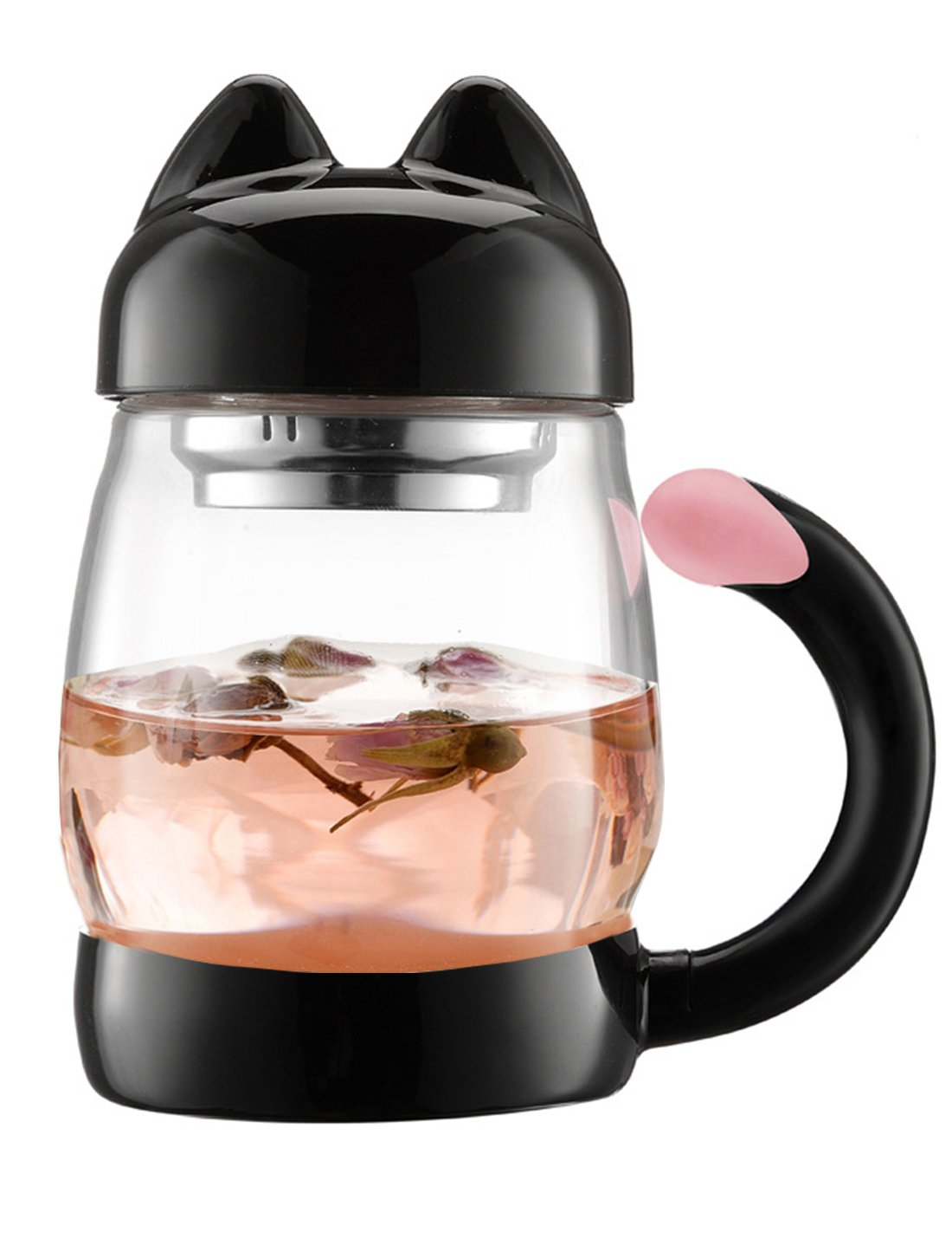 BZY 420 ml / 14 oz Portable Cute Cat Tail Glass Tea cup with a lid , Heat Resistant Mugs with a Strainer (Black)