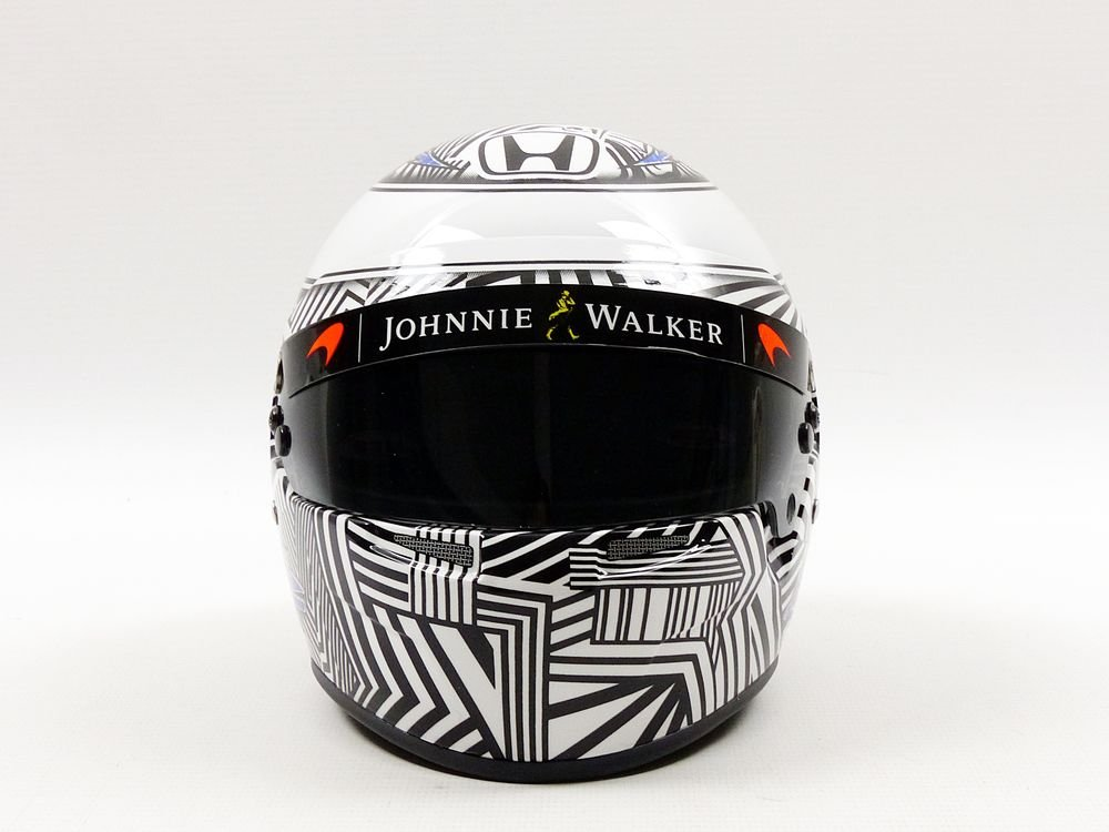 Mini Helmet mh1050 Casco - F. Alonso - McLaren Honda Test Barcelona 2017 - (Escala 1/2, Negro/Blanco: Amazon.es: Juguetes y juegos