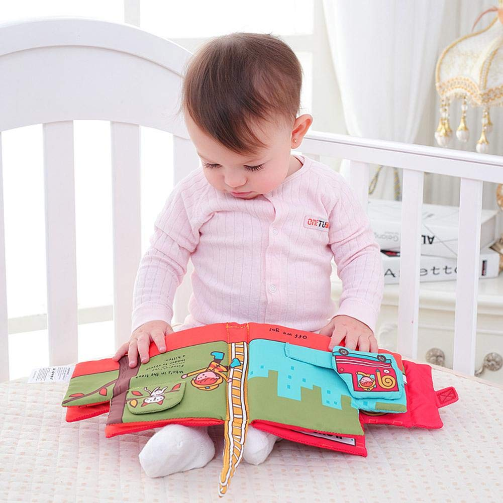 Early Education Toy Cloth Book for Childrens Early Educational Toys Fire Truck Shape Book Toddler Educational Toy for Boys and Girls Touch and Feel Activity Window-pick