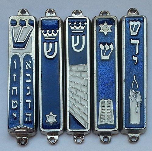 (FIVE Israel flag mezuzah case SET jewish mezuza need 7cm scroll Shabath candle, crown, Star of David, Jerusalem, breast plates design)
