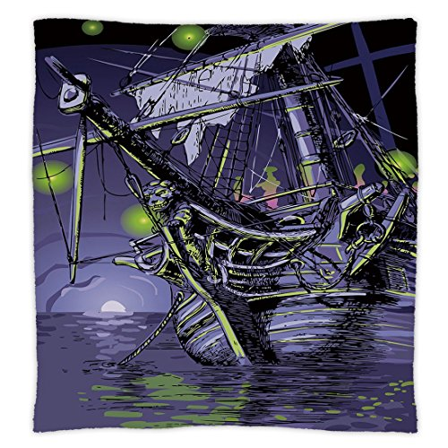 iPrint Super Soft Throw Blanket Custom Design Cozy Fleece Blanket,Pirate Ship,Ghost Ship on Fantasy Caribbean Ocean Adventure Island Haunted Vessel Decorative,Purple Lime Green,Perfect Couch Sofa Bed
