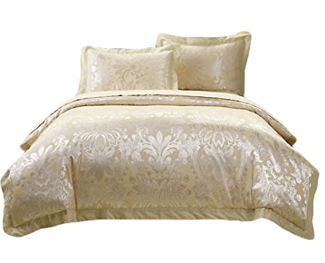 Copripiumino Oro.Beige Light Gold Bedding Sets Silk Satin Spring Summer Bedding