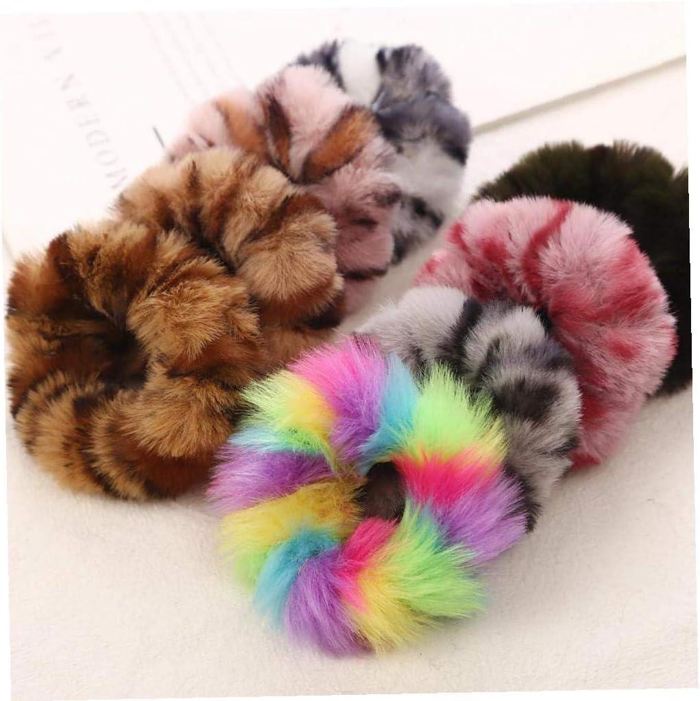 CULER Leopard color/é Imprimer Peluche Chouchous Bandeaux /élastiques pour Porte Chaud Queue de Cheval Fille Femmes de Couleur al/éatoire