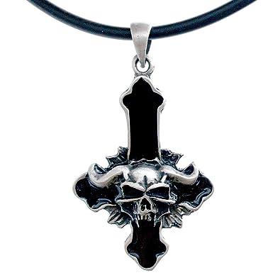 1d124ff02683e OhDeal4U Demon Skull Devil Inverted Cross Lucifer Baphomet LAVEYAN Pewter  Pendant …