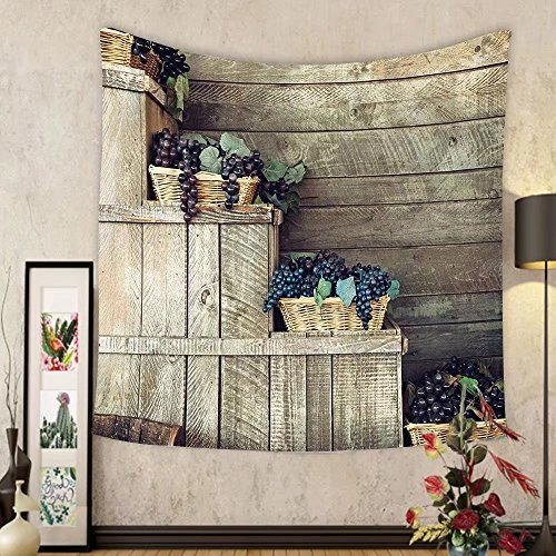 Gzhihine Custom tapestry Grapes Home Decor Tapestry Various in Wooden Wicker Basket Ivy Viniculture Gourmet Organic Photo for Bedroom Living Room Dorm Brown Purple (Grapes Picnic Purple Baskets)