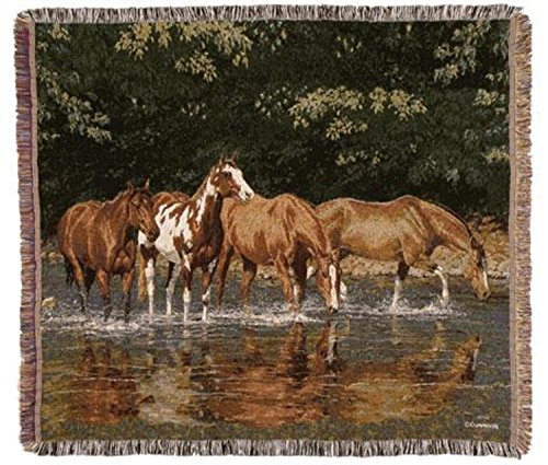 CC Home Furnishings Reflections Horse Herd Tapestry Afghan Throw Blanket 50