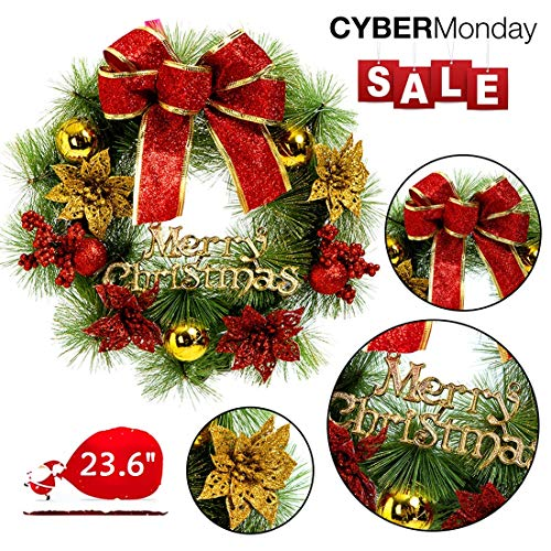 Mannice Extra Large Christmas Wreath for Front Door Wall Windows Artificial Poinsettia Xmas Decoration (23.6 Inch, ()