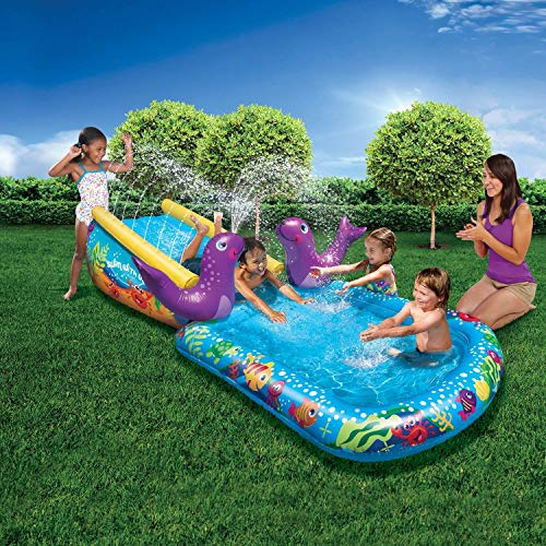 BANZAI Kid Toddler Outdoor Inflatable My First Water Slide and Splash Pool (Banzai Surf And Splash Water Park Reviews)