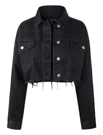 a3b2ad32e90 makeitmint Women's Oversized Distressed Raw Hem Crop Denim Jacket w ...