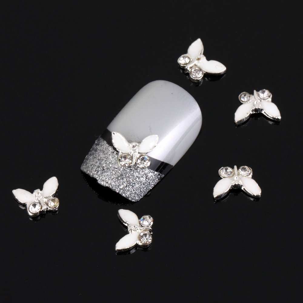 Nail Hall 3D 10 Pieces White Bow with Bling Rhinestone Nail Art DIY Decorations