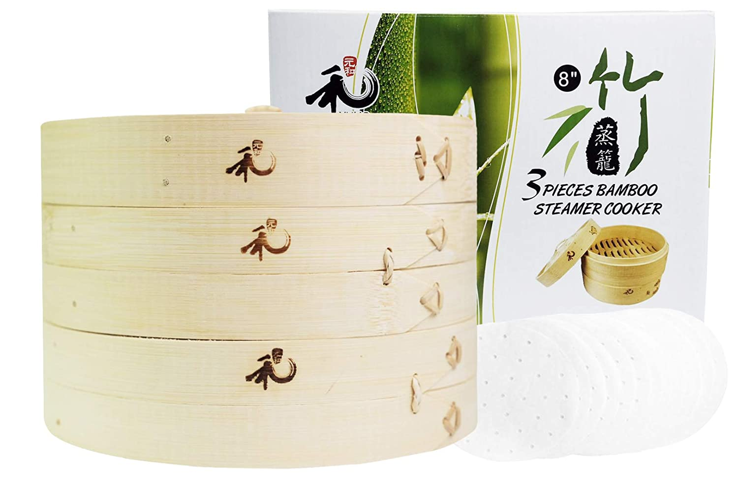 10 Parchment Liners Inch Meat Vegetables Perfect For Steaming Dumplings Yuho Asian Kitchen Bamboo Steamer 6 Rice 100/% Natural Bamboo Fish 2 Tiers /& Lid Individually Box Healthy Lifestyle