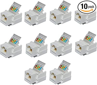 Amazon Com Antrader Rj45 Cat6 Cat5e Tool Less Keystone Jack Connector Adapter Keystone Module Connector For Internet Network Ethernet Lan Cable With Color Coded Wiring Schema Snap In Stand 10 Pack Computers Accessories