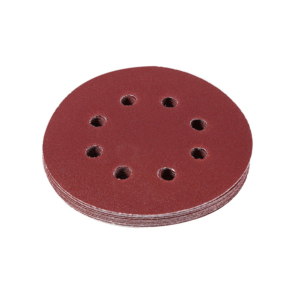 10 Pcs 125mm Round Shape Red Sanding Discs 8 Hole 60#-1000# Grit Sand Papers(120#)