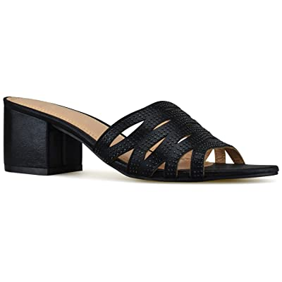Premier Standard - Women's Low Slip On Sandal Slide - Comfortable Everyday Block Heel - Trendy Slipper Shoe | Heeled Sandals