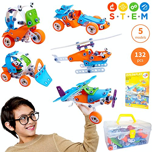 STEM Toys for Boys and Girls | Fun Educational Engineering Toys for 7 8 9 10+ Years Old | Creative STEM Learning Building Blocks Set | 132 Pcs Kit with Box | Best Toy Gift for Kids 8 - 12 Years Old