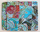 Mango Gifts 100% Cotton Kantha Style Queen Size Patchwork Quilt Bed Spread, Multi-Color Gudri Bed Throw