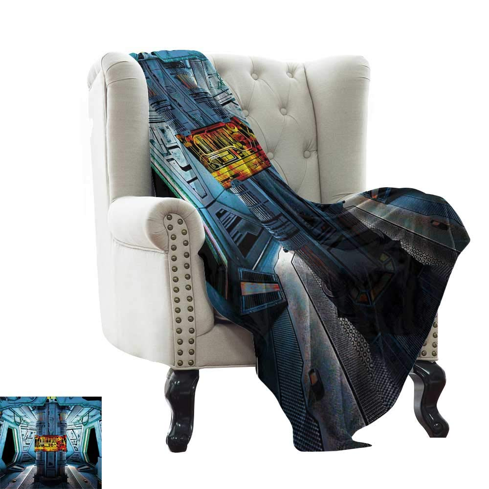 color14 35 x60  Inch BelleAckerman Flannel Blanket Outer Space,Rocket on Planetary System with Earth Stars UFO Saturn Sun Galaxy Boys Print,Multicolor Lightweight Microfiber,All Season for Couch or Bed 50 x60