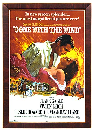 """Gone with the Wind, Clark Gable Classic 24""""x36"""" Dark Red Woo"""