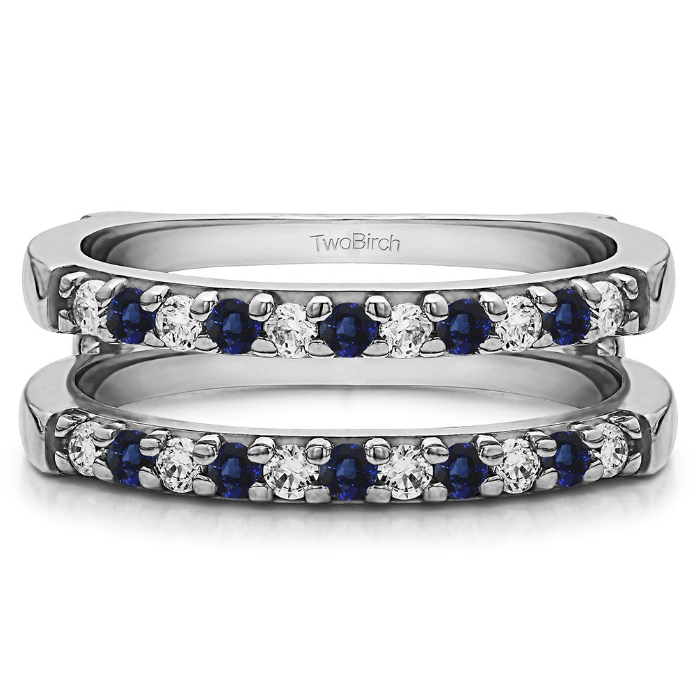 Silver Double Shared Prong Straight Ring Guard with Diamonds and Sapphire (0.51 ct. twt.)
