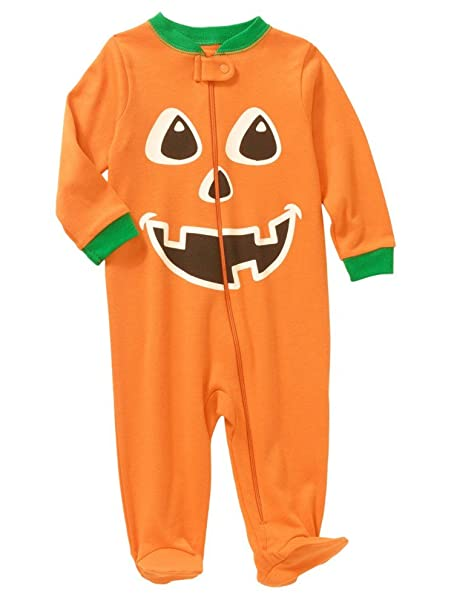 pumpkin infant boys orange cotton halloween sleeper sleep play newborn