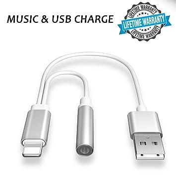 55fc86c4406 Adaptador de auriculares para iPhone con cable de carga y audífonos de 3,5  mm