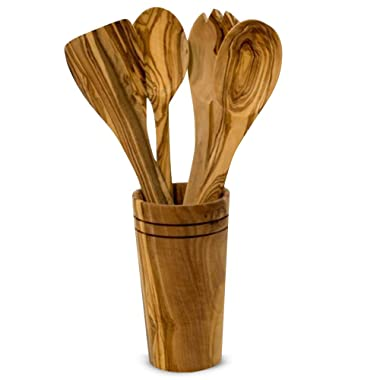 Ilyas Bazaar Olive Wood 5-Piece Cooking Wooden Utensil Set With Holder, Includes Spatula, Cooking/Mixing Spoon, Salad Spoon & Fork With Holder, Handcrafted In Tunisia, Unique Patterns/Color Variations