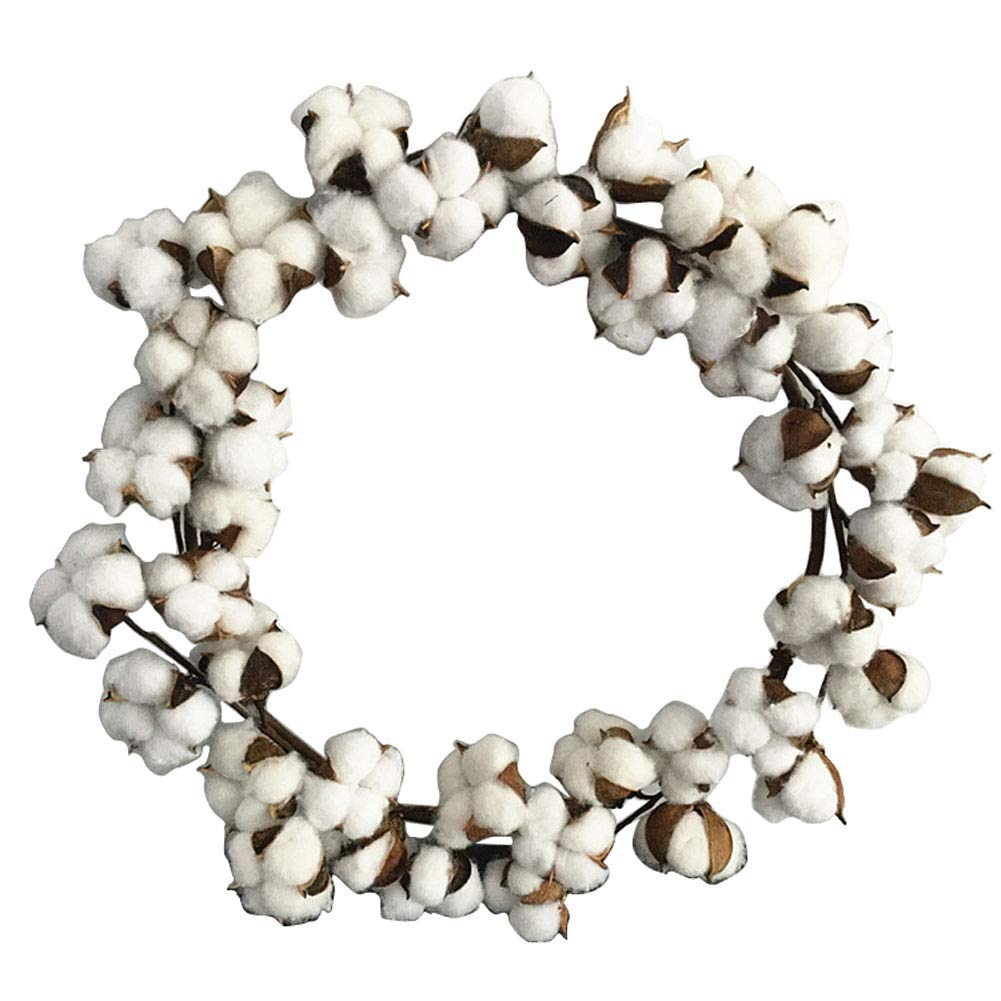 Cotton Wreath 18 Farmhouse Cotton Boll Wreath Stem Branches for Front Door Festival Hanging Decorations Welcome Decor Wellucky WL-MHHH-001