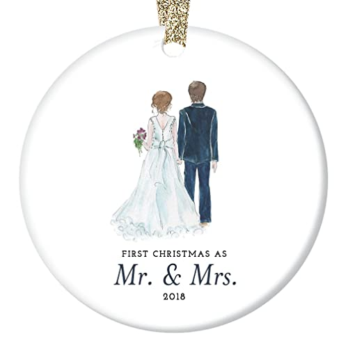 Bride Groom Ornament 2018 First Christmas As Mr Mrs Ornament