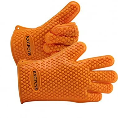 Heat Resistant Silicone Gloves Kitchen Bakeware Oven Mitts Pot Holders Silicone Cooking BBQ Pot Holder Mitt Grill Gloves (1 pair) (orange)