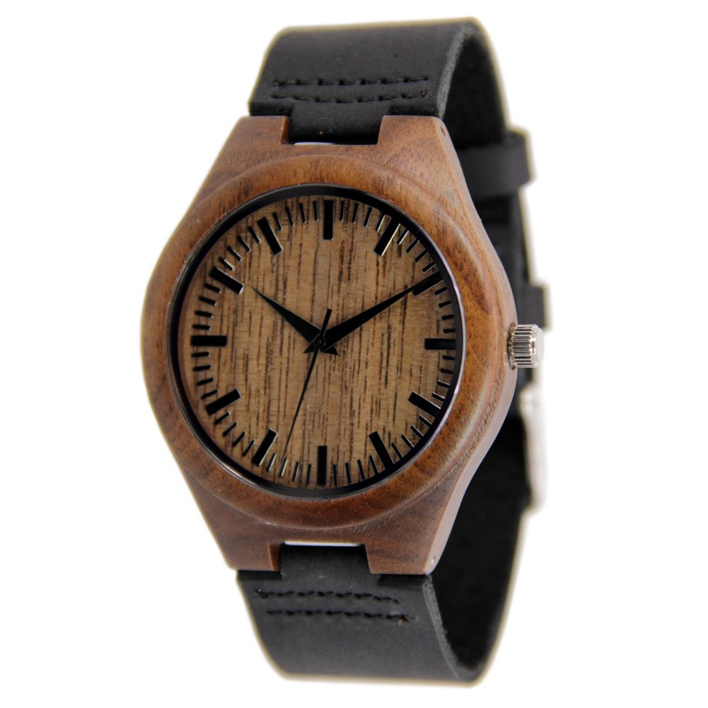 Mens Walnut Wood Watch with Black Leather Strap Gift Watch to Him