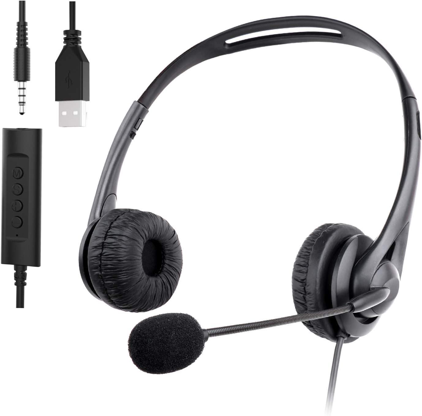 con cancelaci/ón de Ruido del micr/ófono Muljexno Auriculares USB con micr/ófono con reducci/ón de Ruido Jack de 3,5 mm adecuados para PC//port/átil//tel/éfono Android Auriculares Skype