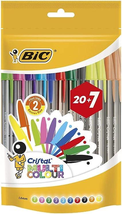 Oferta amazon: BIC Cristal Multicolour Bolígrafos Punta Ancha (1,6 mm) – Colores Surtidos, Bolsa de 20+7 Unidades, ideal para dibujos y anotaciones