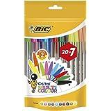 BIC Cristal Multicolour Bolígrafos Punta Ancha (1,6 mm) – Colores Surtidos, Bolsa de 20+7 Unidades, ideal para dibujos y…