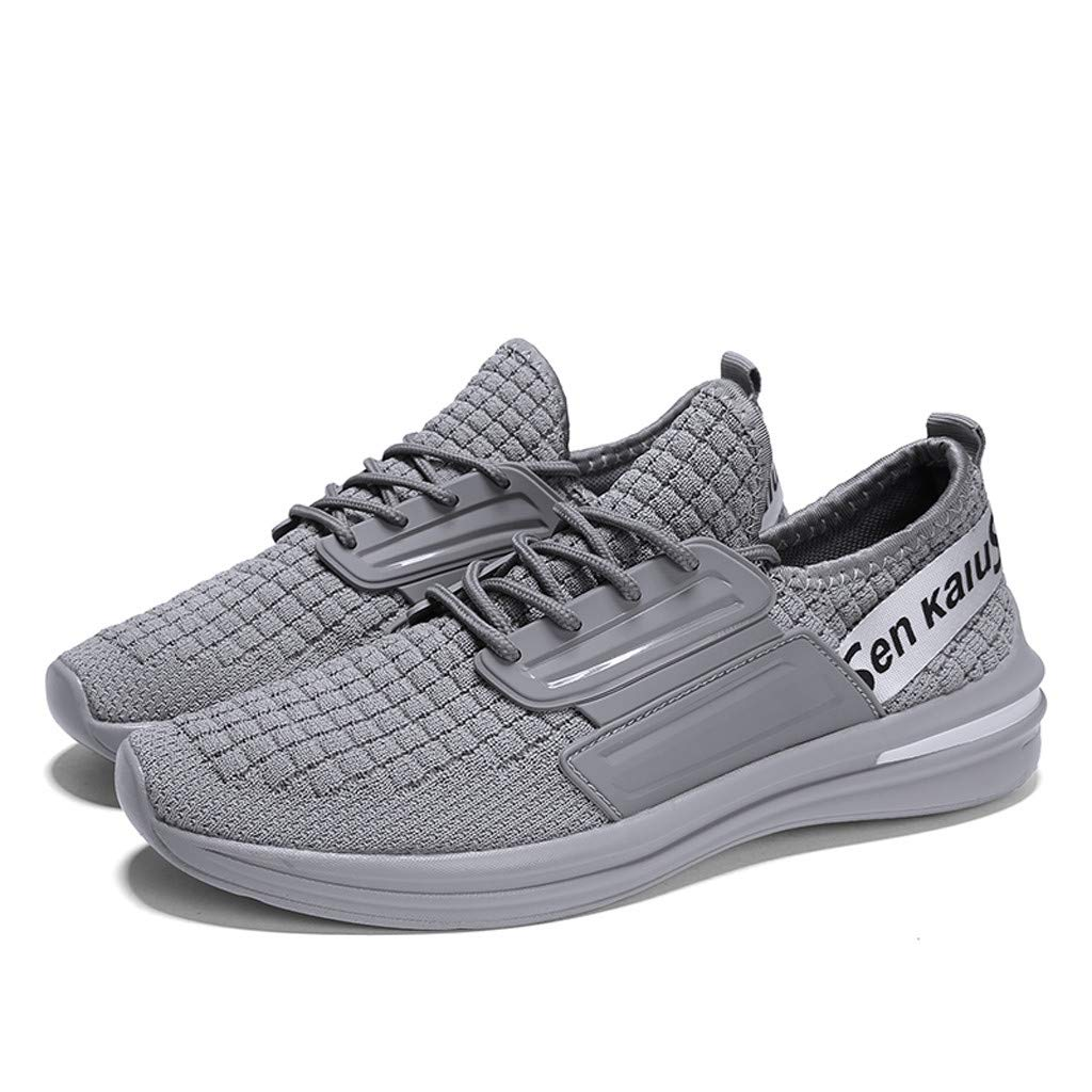 Men Sport Shoes Weaving Sneakers Breathable Lightweight Walking Shoes Slip-On Running