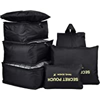 7Pcs Travel Bags Clothes Packing Cube Luggage Organizer with Shoes Bag(Black)