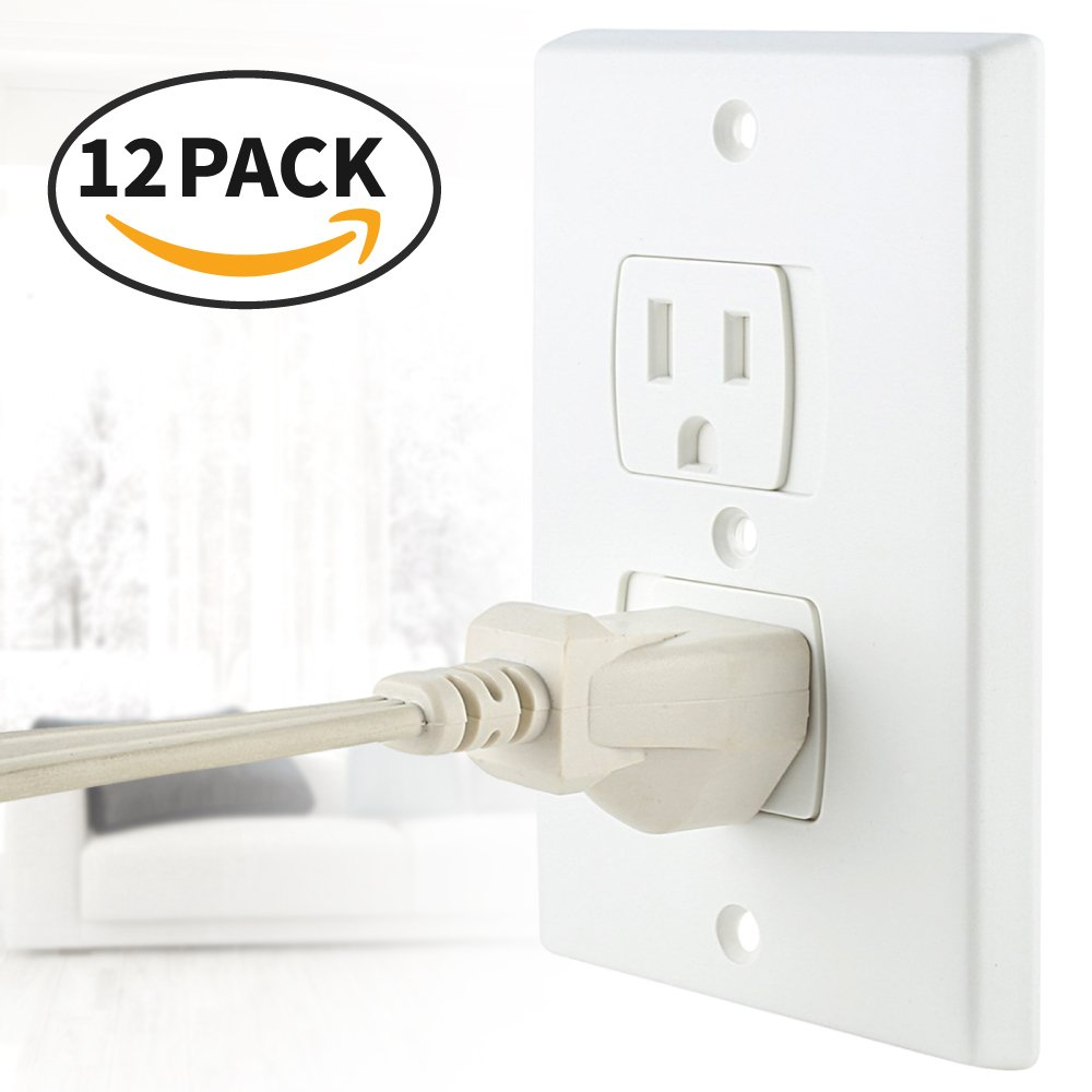 Eutuxia Universal Self-Closing Electrical Outlet Covers. Automatically Closes to Prevent Electric Hazards for Babies, Toddlers, and Children. Safety & Better Alternative to Wall Socket Plugs. [12 PK]
