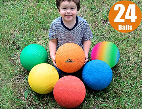 ToysOpoly Playground Balls 8.5 inch Dodgeball (Set of 24) Kickball for Kids and Adults - Official Size for Dodge Ball, Handball, Camps and Smart School + Free Pump & Mesh Bag