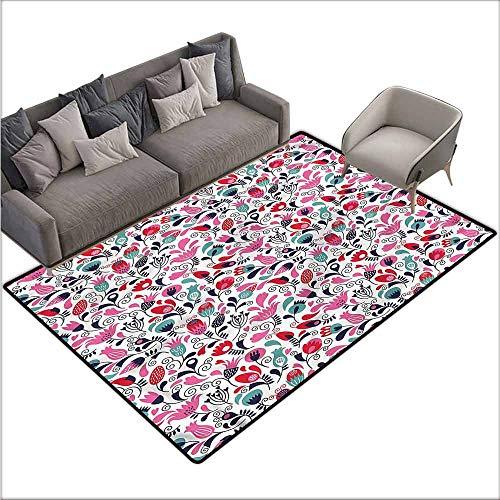 Bathroom Carpet Tulip,Ornate Swirls Tulip Art 60