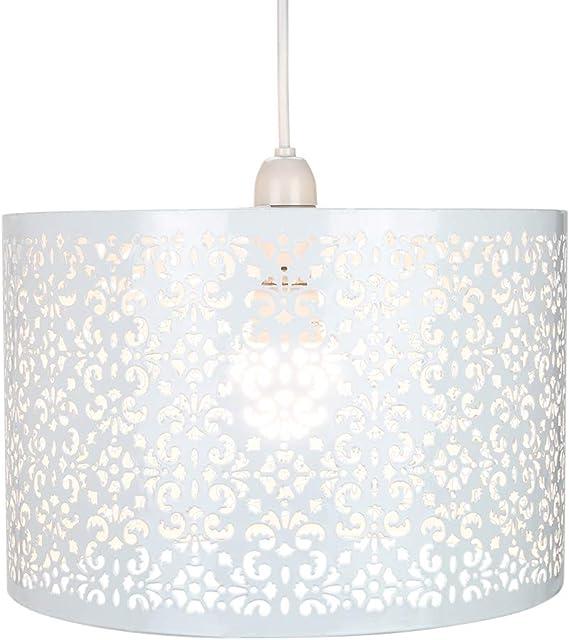 Paralume Per Lampadario Da Soffitto In Metallo Bianco Stile Marrakech Con Decorazione Florale da Happy Homewares