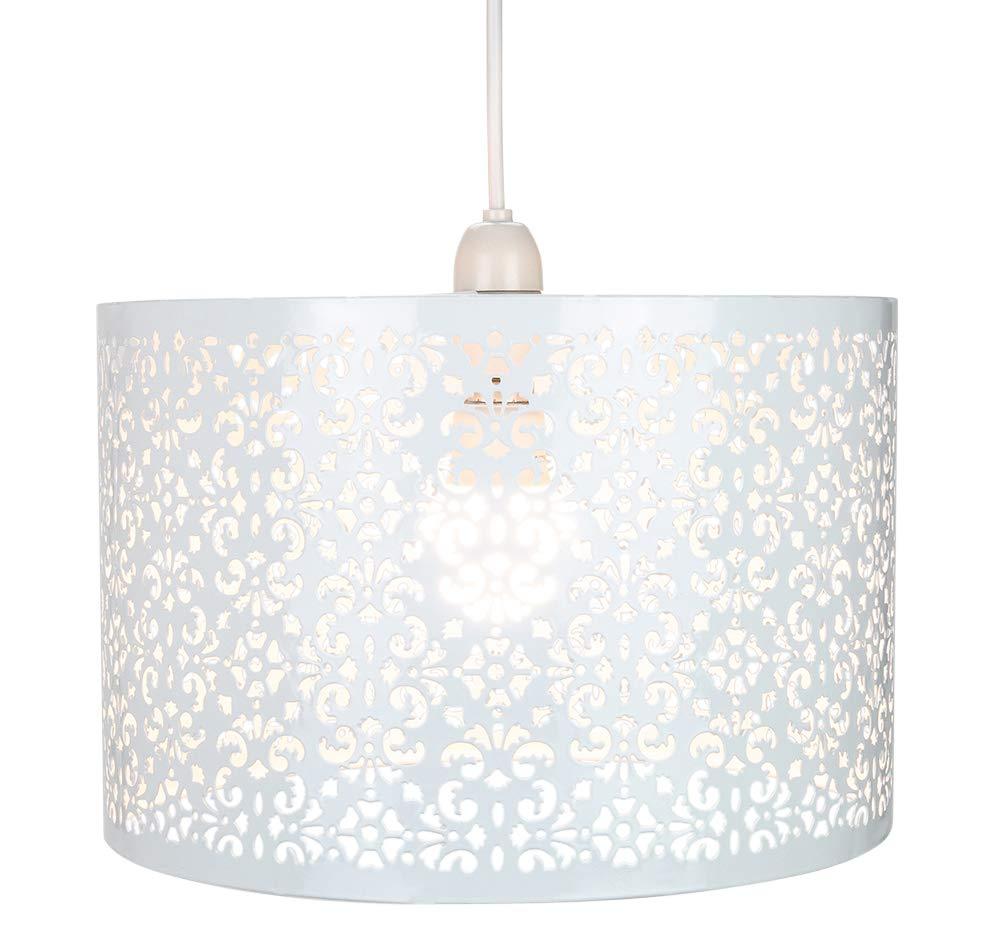 Marrakech con/çu blanc pendentif en m/étal ombre l/ég/ère avec d/écoration florale par Happy Homewares