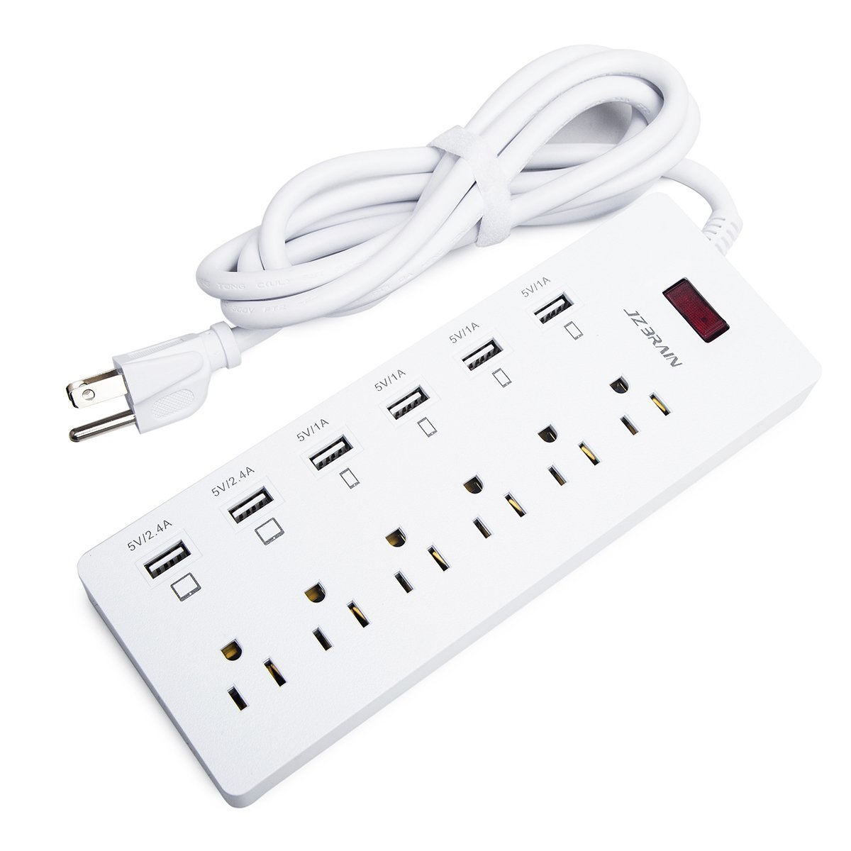 JZBRAIN 6 Way Outlet 6 USB Ports Power Strip Extension ...