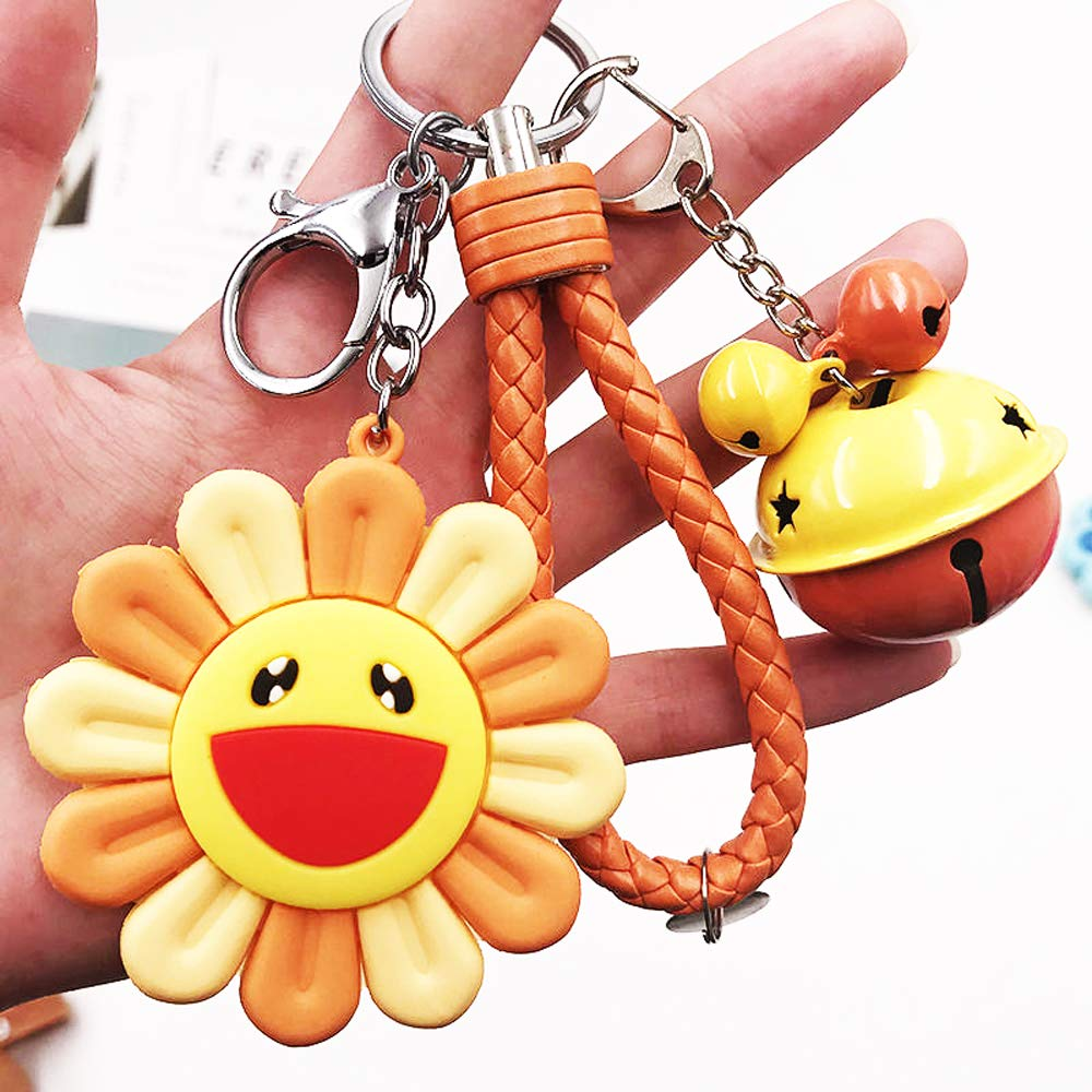 Sunflower Hanging Decorations, Key Ring Link, Backpack Ornament, Colorful Sun Decoration, Decoration Flowers, DIY School Bag Hanging (Orange Sun+Rope+Bell)