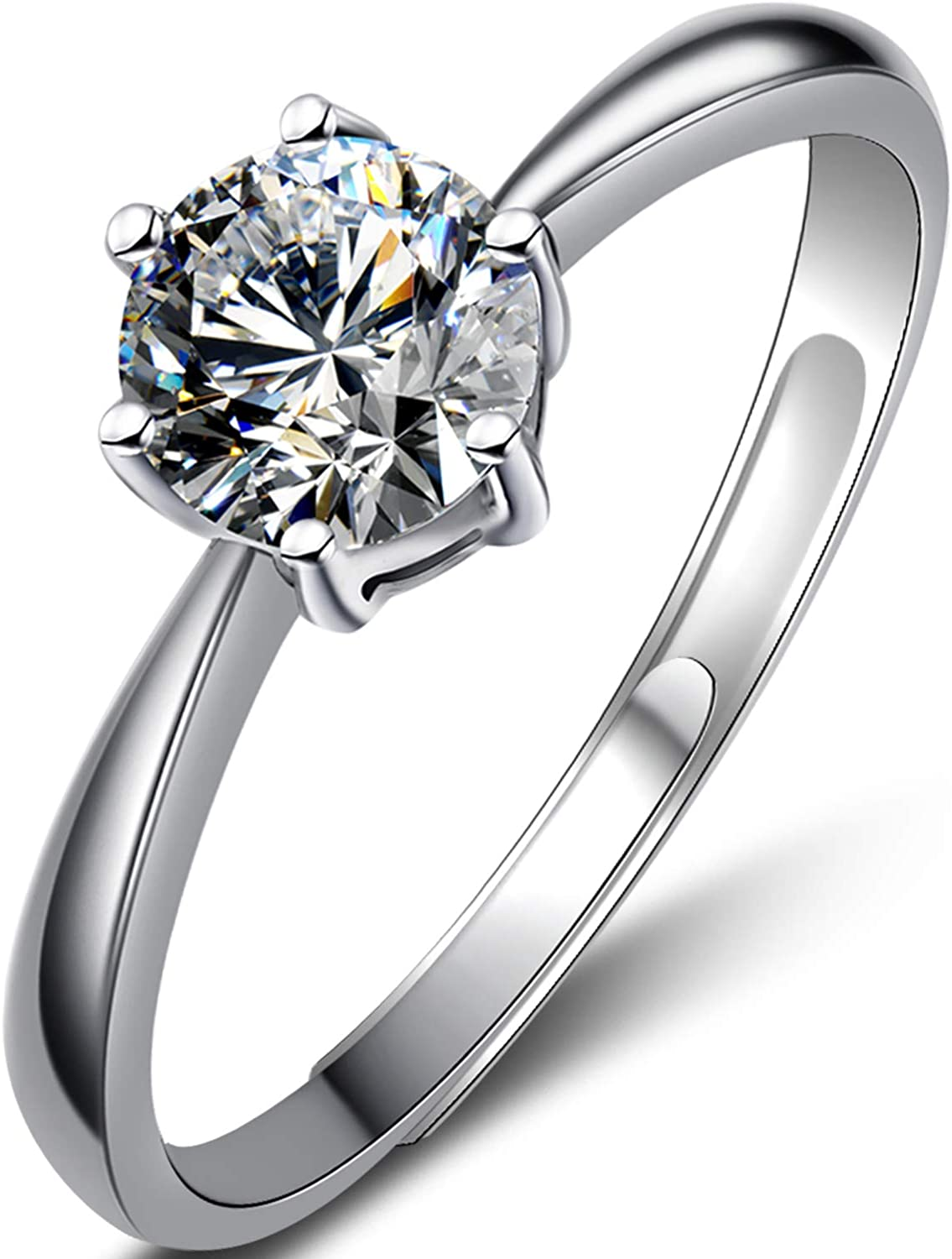 Classic one-Carat six-Claw Diamond Imitation Ring,S925 Sterling Silver Rings for Women,Do not Fade, Valentine's Day or Birthday Presents