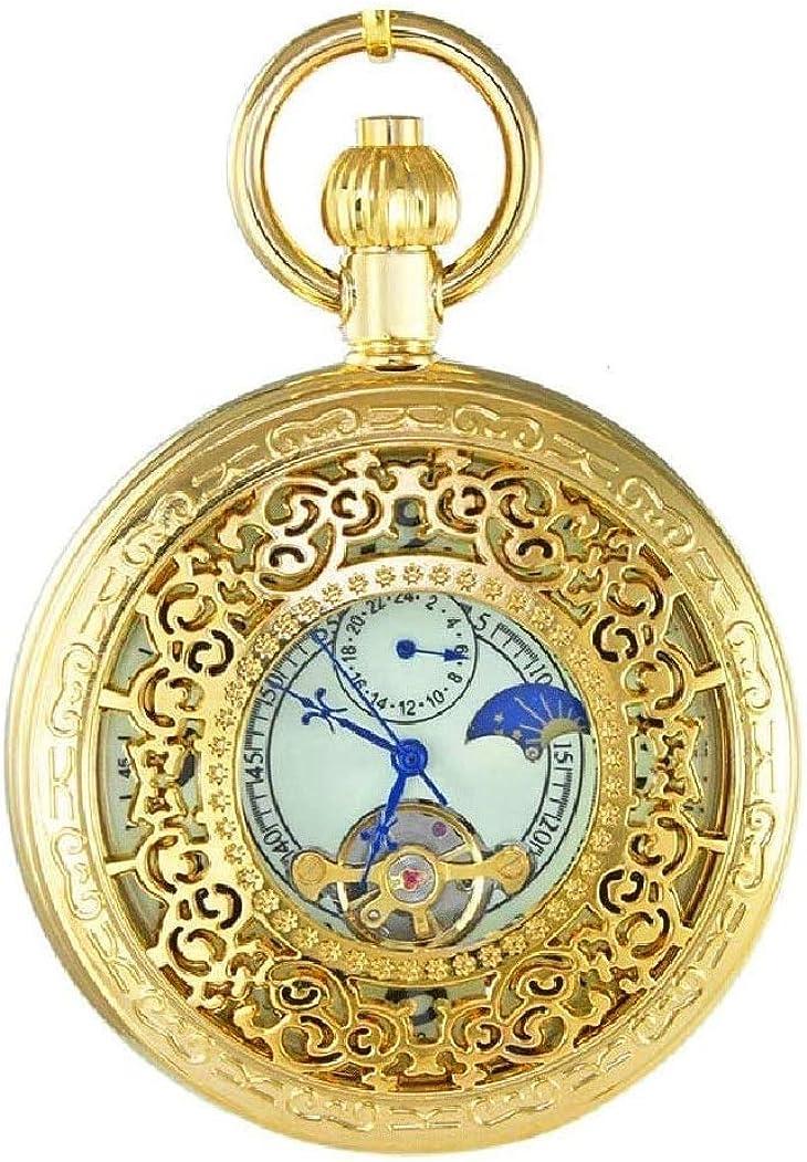 Hombres Mujeres Reloj de Bolsillo Completo Doble Hunter mecánica Relojes de Bolsillo Grabado números Romanos la Mano del Oro del Viento Pocketwatch de Elder