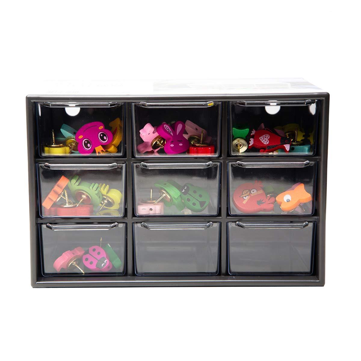 Chris-Wang Removeable Mini Acrylic 9 Drawer Desktop Storage Organizer/Collection Caddy/Small Belongings Holder/Art Craft Sorter, 18*10*12cm, Black
