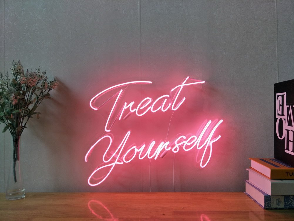 Treat Yourself Real Glass Neon Sign For Bedroom Garage Bar Man Cave Room Home Decor Handmade Artwork Visual Art Dimmable Wall Lighting Includes Dimmer