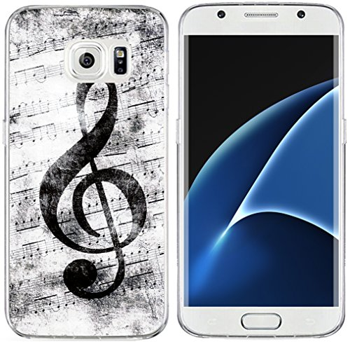 S7 Edge Case & MUQR Replacement Bumper Rubber Gel Silicone Slim Drop Proof Protection Compatible Cover For Samsung Galaxy S7 Edge & Music Note Vintage Design Pattern